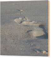 The Footprint Of Invisible Man On The Sand Wood Print