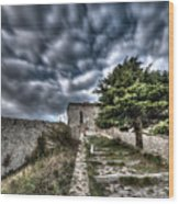 The Fortress The Tree The Clouds Wood Print