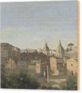 The Forum Seen From The Farnese Gardens Wood Print by Jean Baptiste Camille Corot