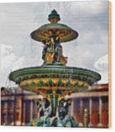 The Fountain At Le Concorde Wood Print