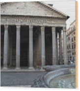 The Fountain In Front Of Pantheon Wood Print