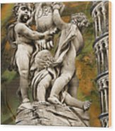 The Fountain With Angels Pisa - La Fontana Dei Wood Print