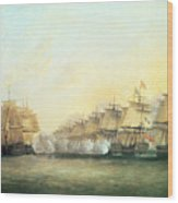 The Fourth Action Off Trincomalee Between The English And The French Wood Print