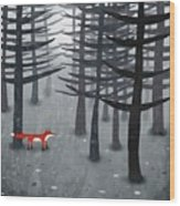 The Fox And The Forest Wood Print