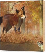 The Fox And The Turtle Wood Print