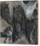 The Friesians In My Head Wood Print by Caroline Collinson