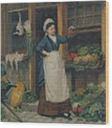 The Fruit Seller Wood Print by Victor Gabriel Gilbert