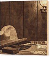 The Gambler Hat Wood Print