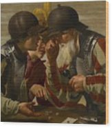The Gamblers Wood Print by Hendrick Ter Brugghen