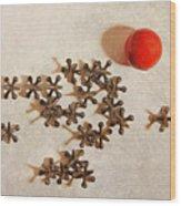 The Game Of Jacks Wood Print