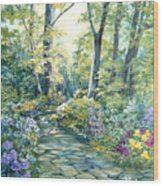 The Garden Left Side Of Triptych Wood Print