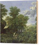 The Garden Of Eden Wood Print by Nicolas Poussin