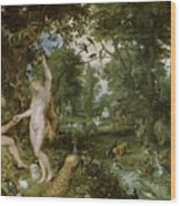 The Garden Of Eden With The Fall Of Man Wood Print