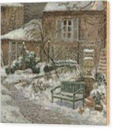 The Garden Under Snow Wood Print