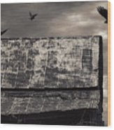 The Gathering - Vultures Above An Old Barn Wood Print