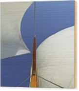 The Genoa And Mainsail Of A Classic Sailboat Wood Print