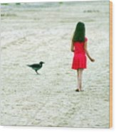 The Girl And The Raven Wood Print