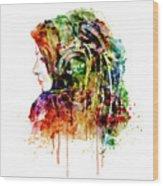 The Girl Is A Dj Wood Print