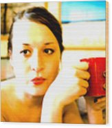 The Girl With A Red Cup  Wood Print