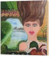 The Girl With A Wooden Hair Wood Print
