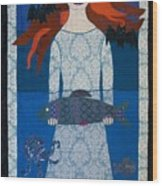 The Girl With Bats And Fish Wood Print