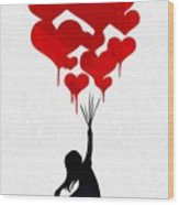 The Girl With The Red Balloons Wood Print