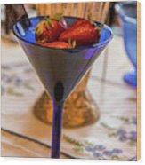The Glass Of Strawberries Wood Print