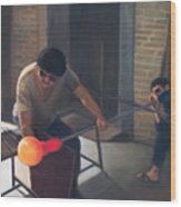 The Glassblowers Wood Print by Diane Caudle