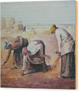 The Gleaners After Millet By My Dad Wood Print