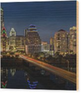 The Glimmering Neon Lights Of The Downtown Austin Skyscrapers Illuminate The Skyline Over Lady Bird Lake Wood Print