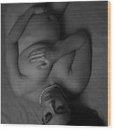 The Glow Of Pregnancy In Black An White Wood Print by Tom Hufford