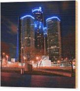The Gm Renaissance Center At Night From Hart Plaza Detroit Michigan Wood Print