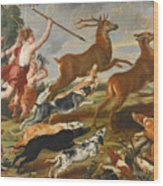 The Goddess Diana And Her Nymphs Hunting Deer Wood Print
