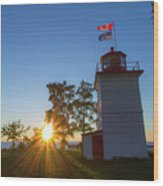 The Goderich Lighthouse At Sunset Wood Print
