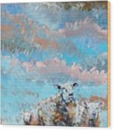 The Golden Flock - Colorful Sheep Art Wood Print