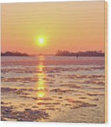 The Golden Hour And Ice Drift Wood Print