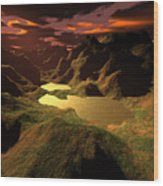 The Golden Lake Wood Print