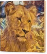 The Golden Lioness  Wood Print