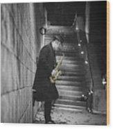 The Golden Saxophone Player Wood Print