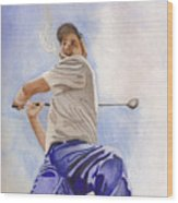 The Golfer Wood Print