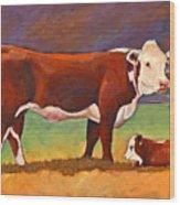 The Good Mom Folk Art Hereford Cow And Calf Wood Print