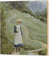 The Goose-girl  Wood Print