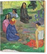 The Gossipers Wood Print by Paul Gauguin
