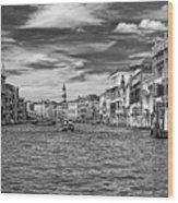 The Grand Canal Bw Wood Print