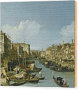 The Grand Canal Near The Rialto Bridge. Venice Wood Print