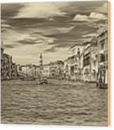 The Grand Canal - Paint Sepia Wood Print