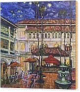 The Grand Dame's Courtyard Cafe  Wood Print