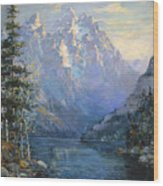 The Grand Tetons And Jenny Lake Wood Print by Lewis A Ramsey