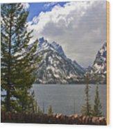 The Grand Tetons And The Lake Wood Print