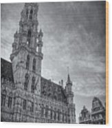 The Grandeur Of The Grand Place Brussels In Black And White  Wood Print